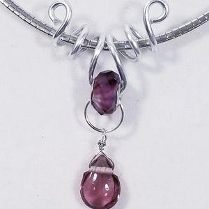 Aluminum Silver Spiral Pendant Opaque Purple Glass